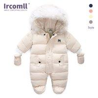 Ircomll mobília quente bebê jumpsuit encapuçado dentro de lã menino menina inverno outono macacão crianças outerwear crianças snowsuit