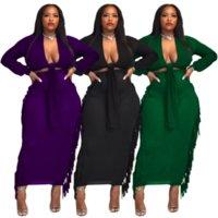 Sexy Mediannight Set de dos piezas Falda de las mujeres con clase de escisión simple de la manga larga Top + borlas laterales Vendaje Female Outfits