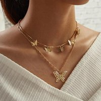 OrangeliliCute Animal Butterfly Clavicle Chain Jewelry For Women Long Pendants Necklaces Multi-layer Metal Choker Gifts Chains