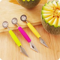 500pcs Multi Function Stainless Steel Fruit Carving Knife Ice Cream Baller Scoop Watermelon Spoon Double-End Kitchen Tool DH5457