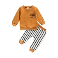 Clothing Sets Kid Baby Boys Girls Sweatshirt And Trousers Set Fashion Letter Long Sleeve Tops Stripe Pants Outfits