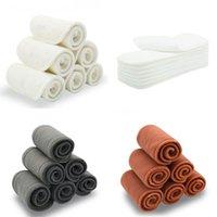 5 Unids Inserciones de pañal reutilizables lavables de bambú de algodón Elástico Inserte Boosters Liners para cubierta de bebé Nappies Pañales de tela de carbón