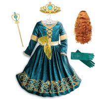 Inspired From Cartoon Movie Brave Princess Dresses for Girls Fancy Scotland Kingdom Merida Kids Halloween Cosplay Costume