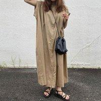 Casual Dresses Linen Summer Shirt Dress Evening Female Vintage Party Oversize Short Sleeve Beach Women Robe Vestido Maxi Prom Pure