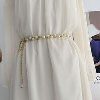 Women Pearl Waist Chain Fashion Dress Decorative Belt Beaded Chain 1220576