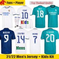 Real Madrid Camisa de futebol BENZEMA 21 22 Fãs Versão do jogador BALE MODRIC Camisa CASEMIRO 2021 2022 KROOS HAZARD VINICIUS RODRYGO Homens Camisa Crianças Kit