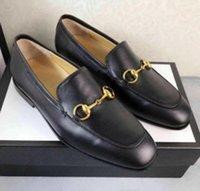 العلامة التجارية جوردان السيدات الأسود عارضة الأحذية الجلدية المتسكعون horsebit l العروسة الفاخرة الكلاسيكية الرجال الأخفاف 6DF36-45