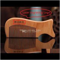 Personalizzato il tuo logo Pettini in legno Ilser Incisione laser logo in legno naturale pettine barba pettine intaglio il tuo nome Grooming business Promozione ZSPCR