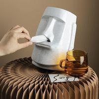 Caixas teciduais Guardanapos de papel criativo titular da ilha de Páscoa Moai Caixa de pedra Estátua Figura Guardanapo Inovador 3D sanitária