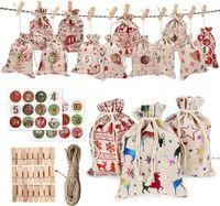 24 / Set decorativi e appesi piccoli sacchetti di stoffa Avvento calendario di natale cotone sacchetto di lino set regalo numeri colorati DHE5282