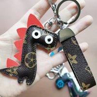ПУ кожаный жираф ключ цепь мультфильм брелок мода цветок кулон сумка ювелирные изделия металлические кольца PU подвесной браслет кольцо 6 цветов g75hccu