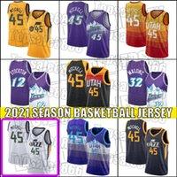 UtahCazJersey Donovan 45 Mitchell Formalar John 12 Stockton Jersey Karl 32 Malone Formalar Basketbol Throwback Jersey ZB65A