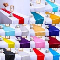 Satin Table Gunners Wedding Banchetto Partito Decorazione evento Decorazione Tavolo Runner Baby Shower Birthday Party Torta Tavolo Decorazioni DHB8423