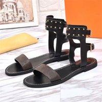 Clásicas sandalias sandalias sexy tobillo botas de verano pisos de verano diapositivas llamativas gladiador zapatillas suela de cuero sandalia sandalia playa playa zapatilla romana