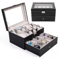 Watch Boxes & Cases 20 Insert Grid Slots Removable Pads PU Leather Box Display Case Organizer Jewelry Storage