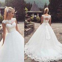 2012 Ball Gown Wedding Dresses Bridal Crystals Lace Applique Beaded Bateau Scalloped Sweep Train Custom Made Plus Size vestidos de novia Desinger