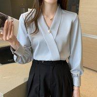 Frauen Blusen Hemden Büro Damen Arbeitskleidung S-2XL Stil Fleck Chiffon Frauen Plus Größe Perle Koreanische V-Ausschnitt Chic Solide Bluse