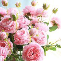 8.5cm 2PCS Peony Head Silk Artificial Flower Wedding Home Decor DIY Wreath Scrapbook Gift Box Party Decoration Decorative Flowers & Wreaths