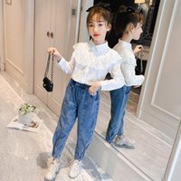 Children's Girl Sets Long Sleeve Lace White Shirt And Denim Trousers Two Piece Suit Korean Style Leisure Teenage Girls Outfits Clothing