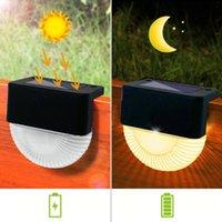Güneş Lambaları 8 adet LED Powered Işıkları Açık Su Geçirmez Adım Lamba Bahçe Yard Çit Akıllı Sensör Kontrol Duvar Montaj Sokak