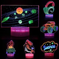 LED Lamp Base RGB Light 3D Illusion Bases Lights 3 Colorful Acrylic Pattern Lamps Battery or USB Powered for Kids Girlfriend Gift Decoration