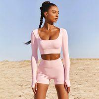 2021 2 stücke Set Nahtlose Frauen Yoga Set Workout Sportswear Gym Kleidung Fitness Kurzarm Crop Top Leggings Sportanzüge