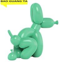 BAO GUANG TA ART POOPING DOG ART Скульптура Смола Ремесло Абстрактный Воздушный шар Животных Статуэта Статуя Главная Декор Валентина Подарок R1730 210318