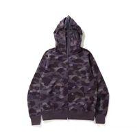 Lo más nuevo Lover Camo Tiburón Imprimir Sweater de algodón Sudaderas con capucha Casual Púrpura Púrpura CAMO CARDIGAN CARDIGAN CAPULAR CAMPO CAMPIO M-2XL CP001