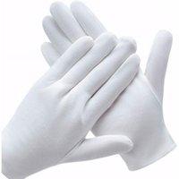 Guantes blancos de algodón suave joyería de la moneda de la inspección de plata de la inspección del revestimiento de la revestimiento de los hombres