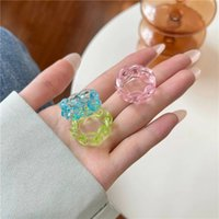 Korea Fashion Transparent Resin Acrylic Bohemian Geometric Chains Link Knuckle Finger Ring for Women Jewelry Travel Gifts