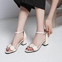 Talla grande 11 12 13 14 15 Tacones altos Sandalias Zapatos de mujer Mujer de verano Damas de una sola palabra Hebilla con dedos gruesos y de flores