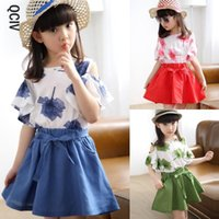 2Pcs Children Girls Dress Suit Summer Kids Girl Off Shoulder Tops+ Short Skirt Teenager Outfits For 2-12 Years Girl's Dresses