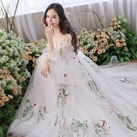 Pography Dress White Embroidery Floral Bride Wedding Gowns Elegant Trailing Evening Sexy Spaghetti Strap Dresses Fairy Ethnic Clothing