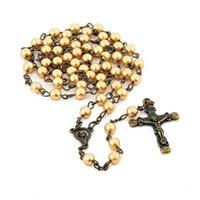 6mm 종교 가톨릭 기독교 유리 구슬 긴 펜던트 십자가 묵주 목걸이 목걸이 목걸이
