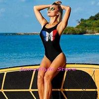 Trajes de dos piezas Sexy negro Bandera francesa Bandera de mariposa Impresión de una pieza Traje de baño Damas 2021 Monokini Backless Cut Out Swimwear Mujer Baño de natación