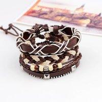 Charm Bracelets 3pcs set Boho Hippie Punk Brown Cord Wrap X Letter Word Knots Leather Wooden Pyramid Rivet Beads Layers Wide For Man