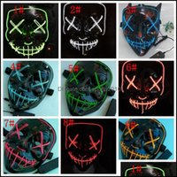 Other Event Festive Supplies Home & Garden10 Colors Led Halloween Party Light Up Cosplay In The Dark Horror Glowing Mask Kka7536 Drop Delive