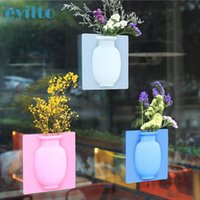 Vases Evilto Silicone Sticky Vase Magic Rubber Flower Plant Container For Office Wall Decoration Home