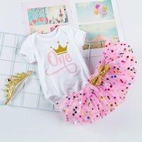 3pc tutu vestido traje baby cumpleaños letra encantadora khaki punto princesa falda mamelona corona cabecera bebé ropa 31fk k2