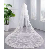 Bridal Veils 2021 Arrive Appliqued White Ivory Sexy Veil One Layer 350cm Lace Edge Cathedral Wedding With Comb Velos De Novia