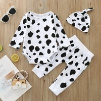 Clothing Sets Baby Boys-girls Rompers Outfits Autumn Halloween Clothes Cow Pattern Hats 3pcs Long-pants Pajama Set Cartoon Girls Boys Costum
