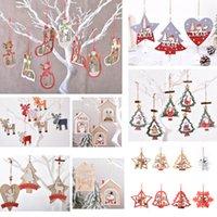 Decoração de Natal Árvore de xmas de madeira oco pingentes de suspensão enfeites para desenhos animados criativos santa cláusula boneco de neve ornamento HH21-696