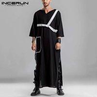 Mode Hommes Robes musulmanes Arabe Kaftan islamique V ecque 3/4 Manches Jubba Thoïde Coton Split Hem Hommes Mens Vêtements Streetwear Incerun Ethnic Clothin