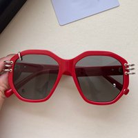 7176 Bayan Güneş Gözlüğü Moda Alışveriş Parti Gözlük Oval Kırmızı Çerçeve Tasarımcı Metal Küçük Daire En Kaliteli Orijinal Kutusu ile