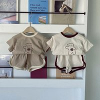Clothing Sets Toddler Baby Clothes Set Summer For Boys Girls T-shirt Bear Pattern Short Sleeve Kids Tops + 2Pcs Cotton Casual