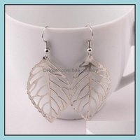 & Chandelier Jewelrywomen Simple Style Large Leaves Dangle Gold Sier Color Stainless Steel Earrings Fashion Jewelry Drop Delivery 2021 X0Nly