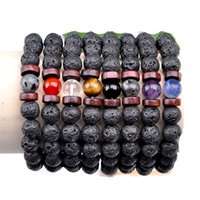 Energy Healing Natural Lava Stone Bead Handmade Strands Charm Bracelets For Women Men Party Club Decor Yoga Jewelry