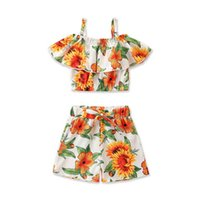Baby Clothing Sets Girls Outfits Kids Clothes Dress Summer Flower Tank Tops Pants Shorts Beach Wear 2Pcs Suits 1-5Y B5370