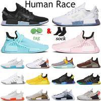 Adidas NMD Human Race 2019 Chaussures de course HU Inspiration TR de race humaine Pharrell Williams Heart Mind NERD - Blanc - Blanc - Noir