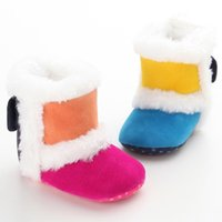 First Walkers Fashion Winter Rainbow Born Baby Baby Infant Girls Warm Snow Boots Girl Wool Cuna Sneakers Faux Fur Botines